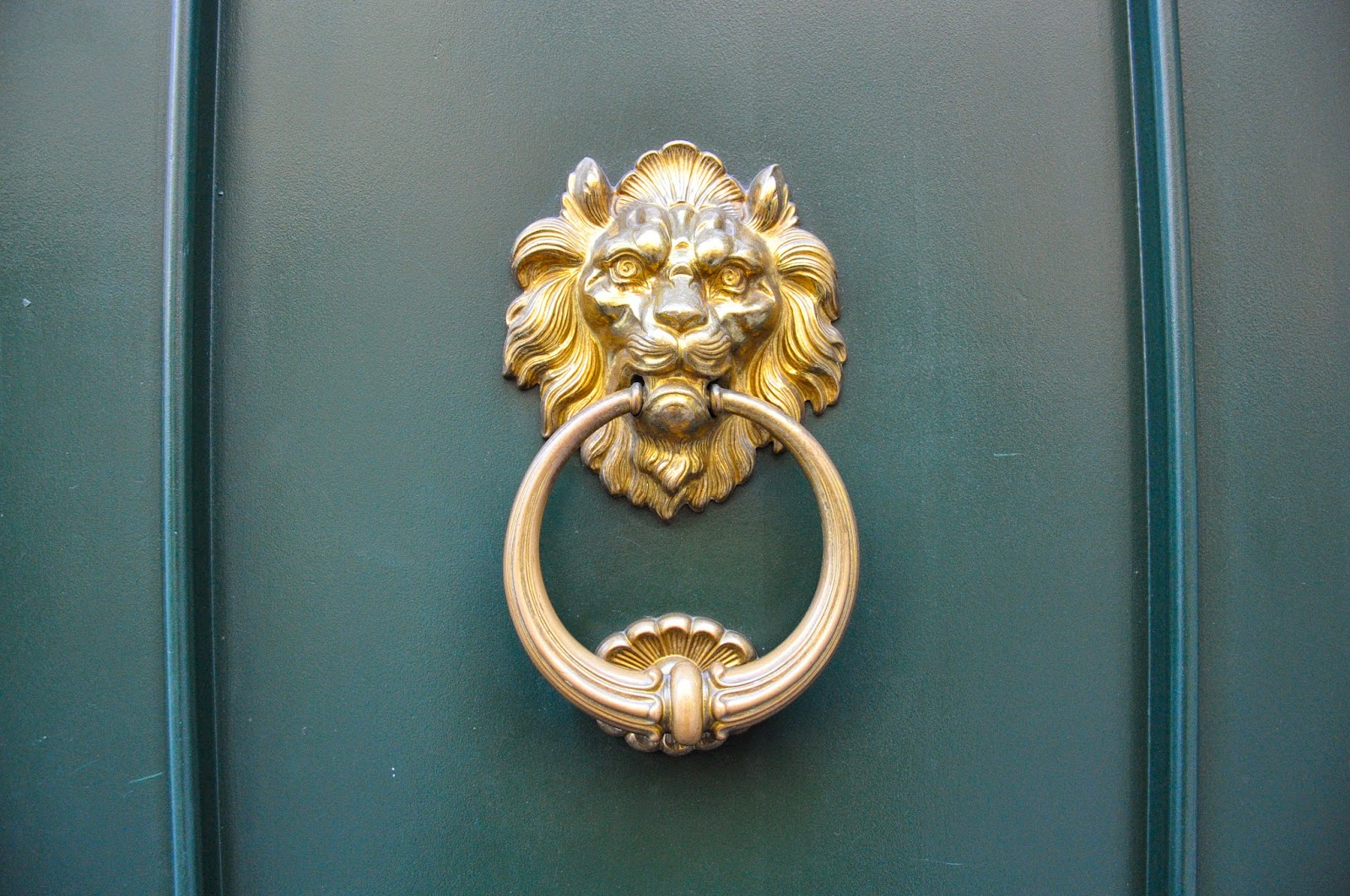 A lion's head door knocker seen  in Padova, Italy