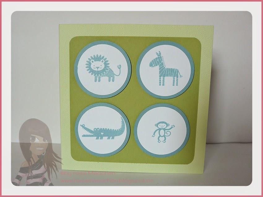 Rosa Mädchen Stampin' Up! Babykarte Zoo Babies