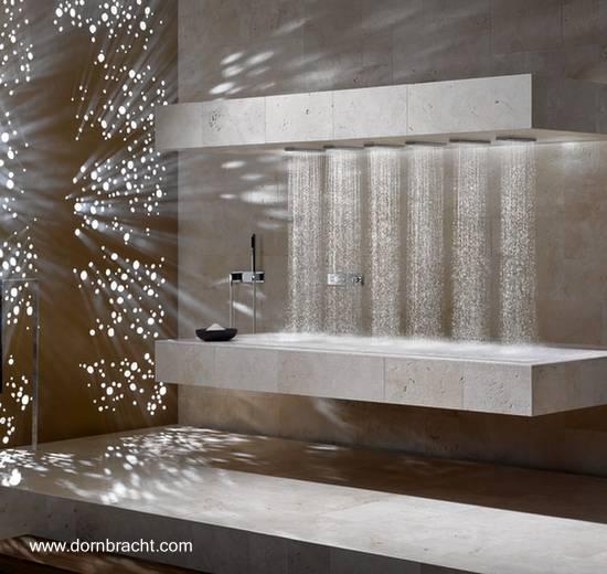 Instalación de duchas sobre camilla horizontal