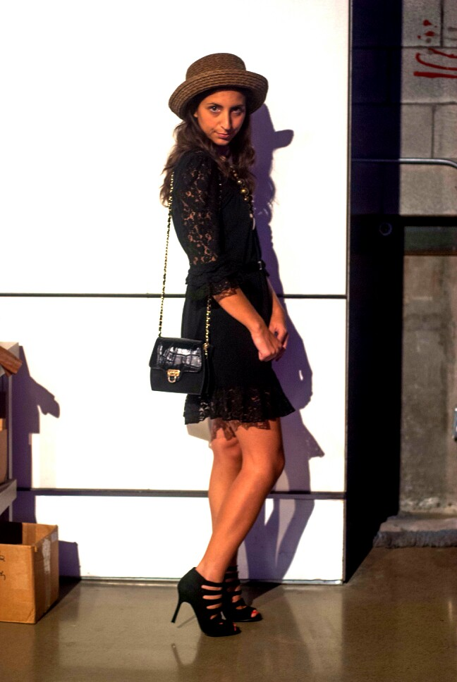 black lace dress vintage purse hat montreal fashion week