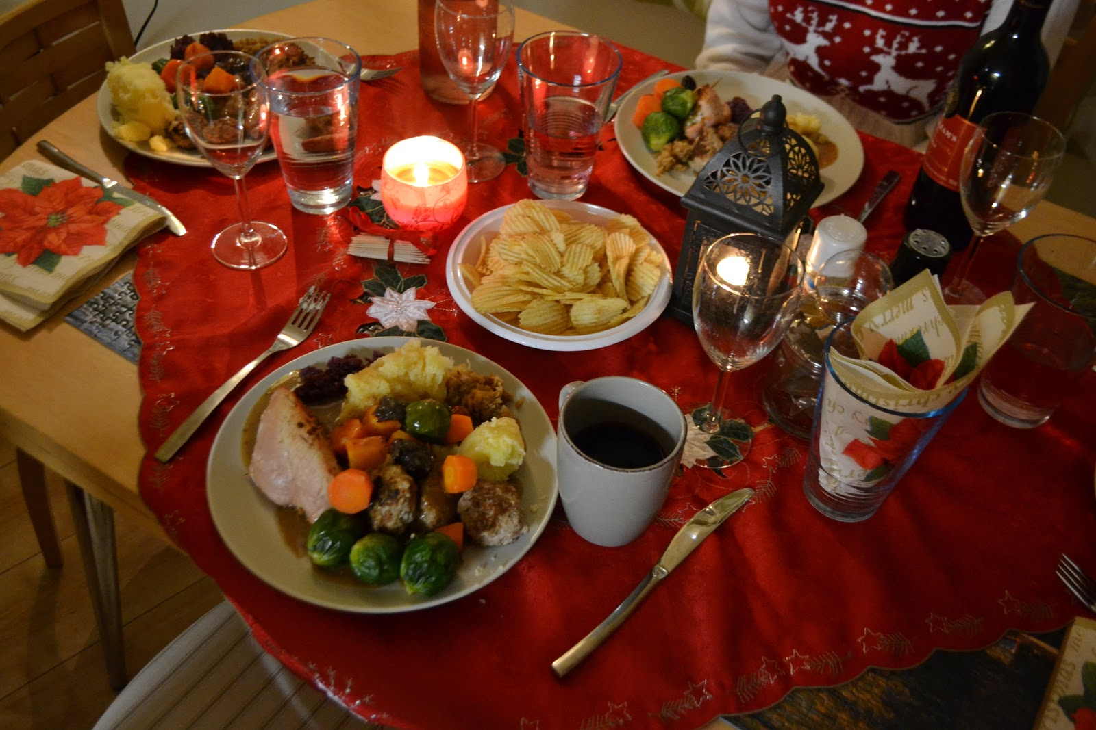 Dinner table with food - Early Nordic Christmas Dinner