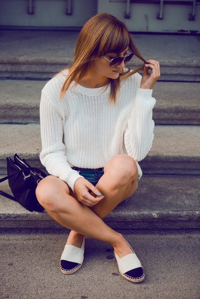 knitwear shorts outfit, cap tope espadrilles, chanel espadrilles lookalike, blogger outfit, fashion inspiration, minimalistic style outfit