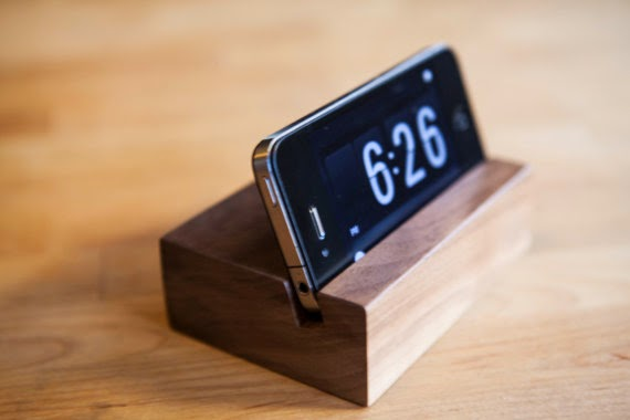 hand-carved wooden iPhone stand