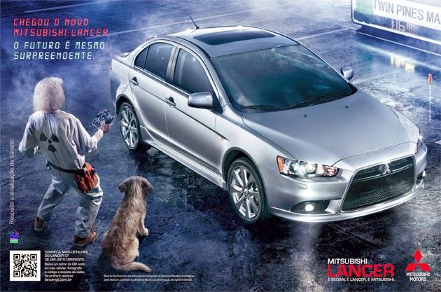 """Propaganda do Mitsubishi Lancer, em 2012. Carona no filme """"De volta para o futuro"""" de 1985."""