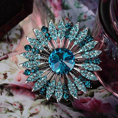 big crystal sunflower rings blue