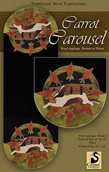 "Carrot Carousel Wool Applique Runner 12"" x 26"""