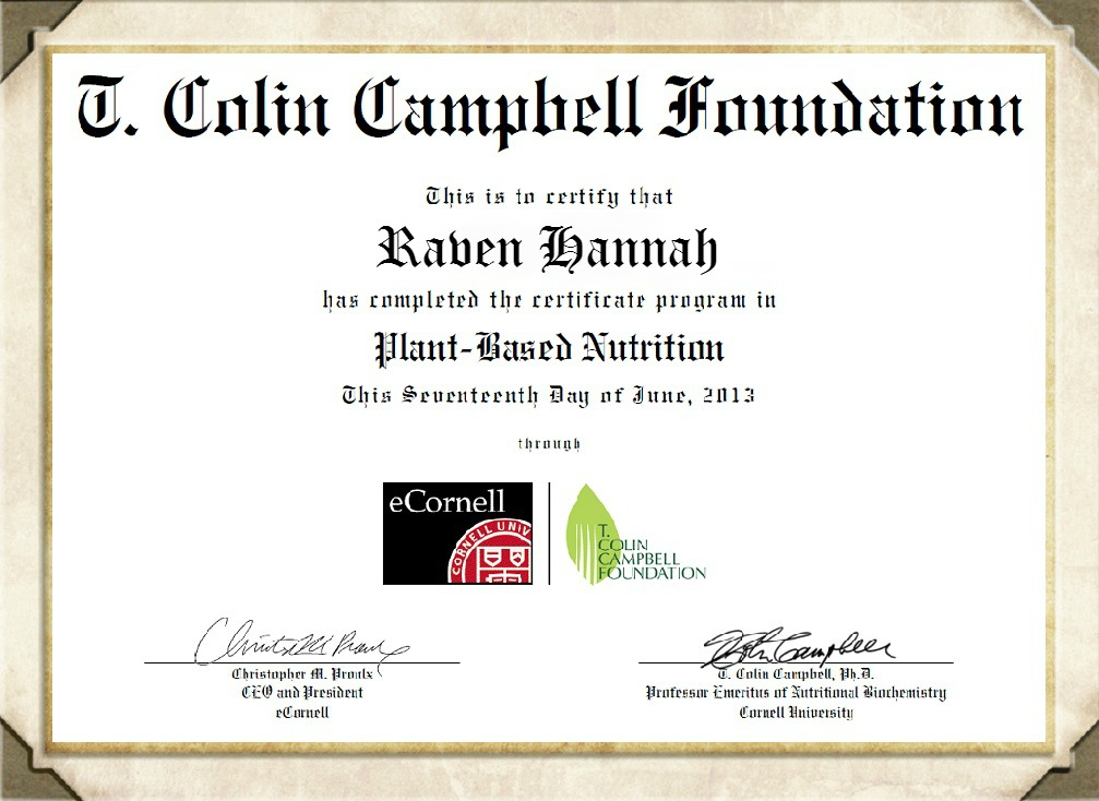 Certified in Plant-Based Nutrition