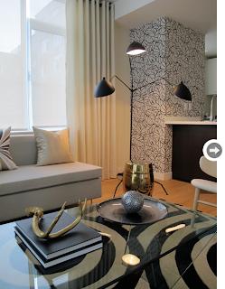 tapete elegante para sala cinza e preto