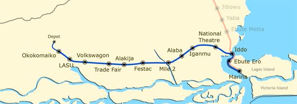 Lagos light rail blue line routes