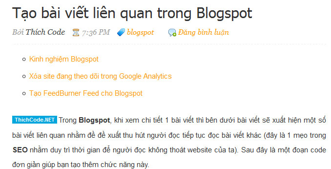 Tin liên quan trong Blogspot