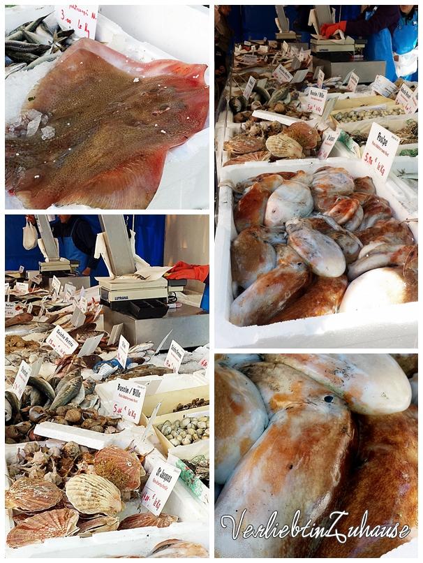 Frischer Fisch und Meeresfrüchte auf einem französischen Markt in Bagnols sur Cèze