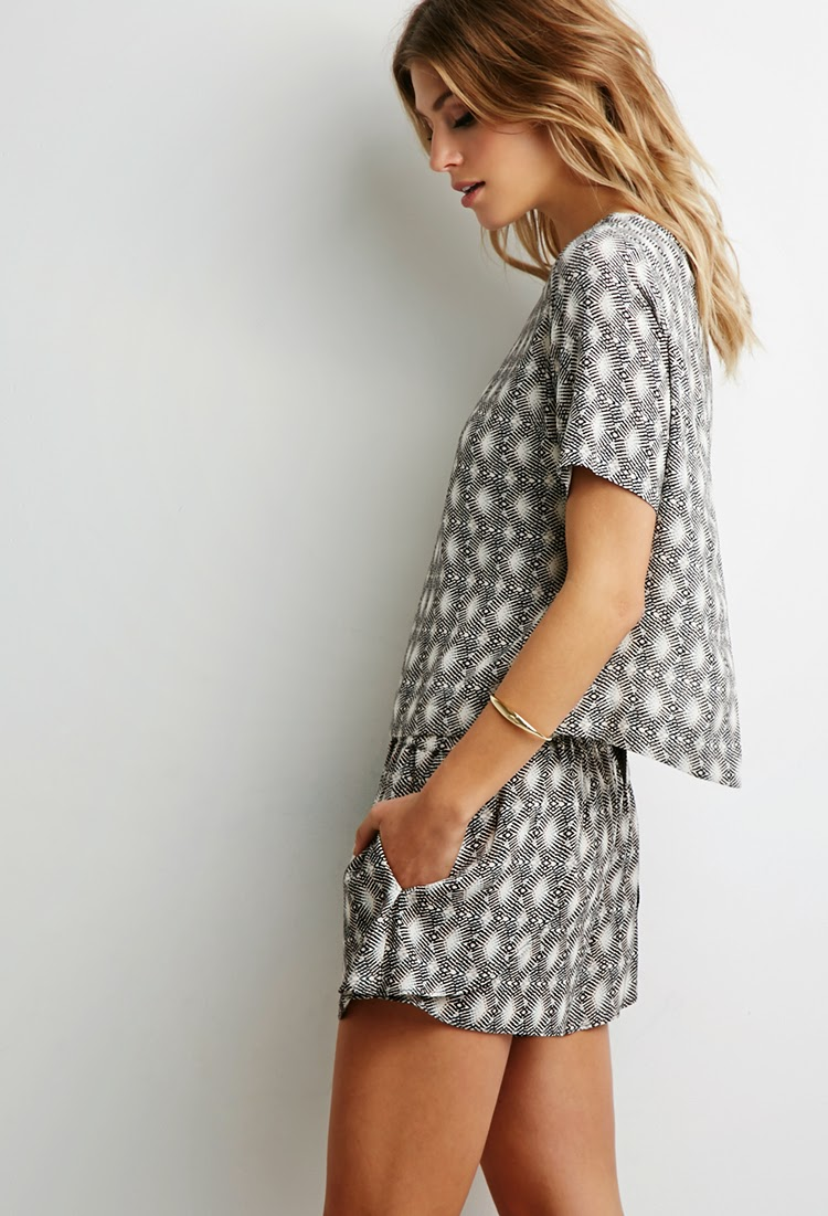 Matching Grey Abstract Print Top and Shorts Set