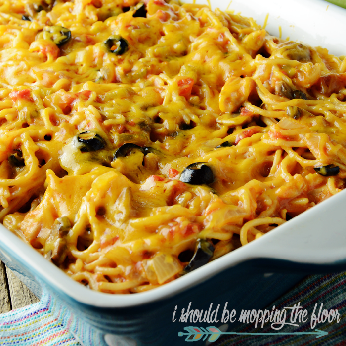 Mexican Chicken Spaghetti: a Tex-Mex twist on the classic southern casserole.