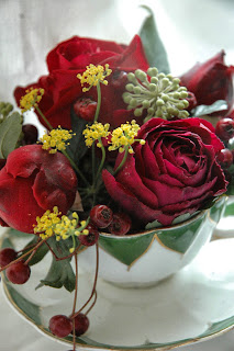 This screams Christmas!  Falstaff and Black Baccara roses with fennel and ivy flowers in a victorian fluted teacup. By Tuckshop Flowers.
