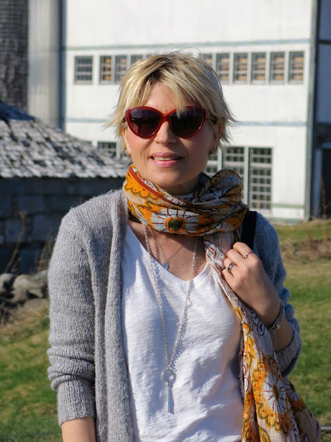 long cardigan, slouchy tee, Zara floral scarf, House of Harlow 1960 sunglasses