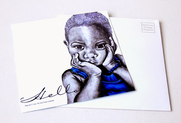 Blue Girl Hello Postcard Invitation Cards front image with matching white envelope