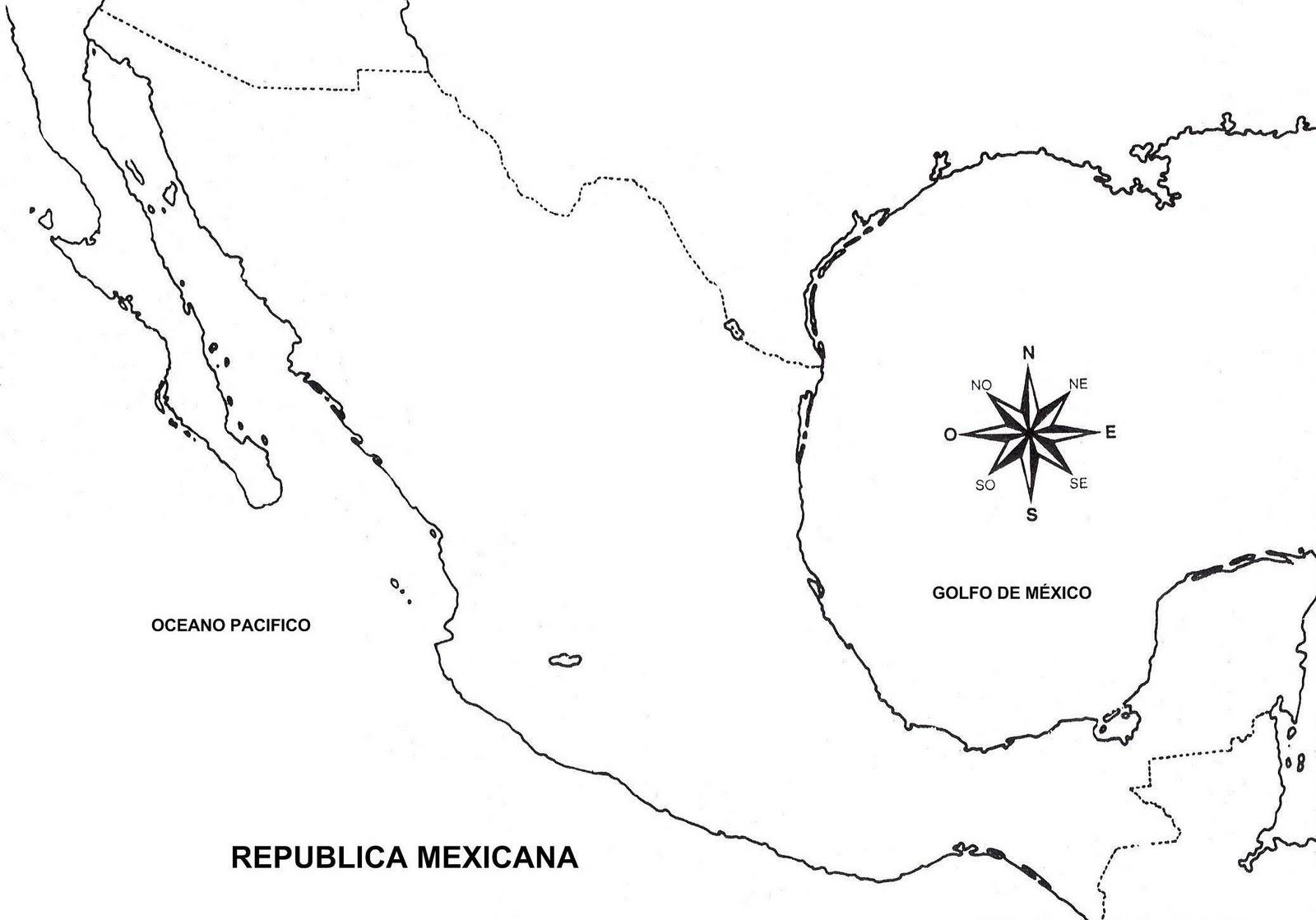 Mapas del Mundo: Mapa de México para Colorear
