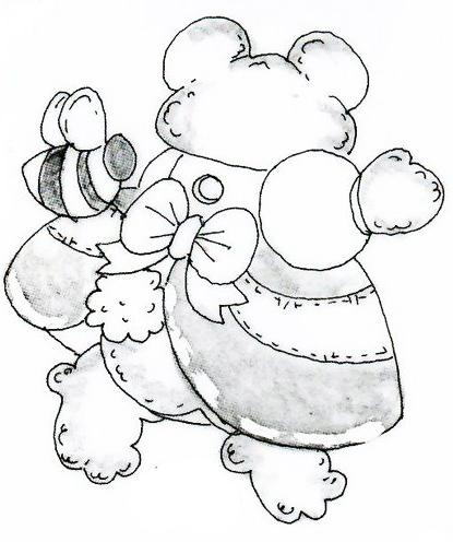 riscos para pintura de urso frente e verso