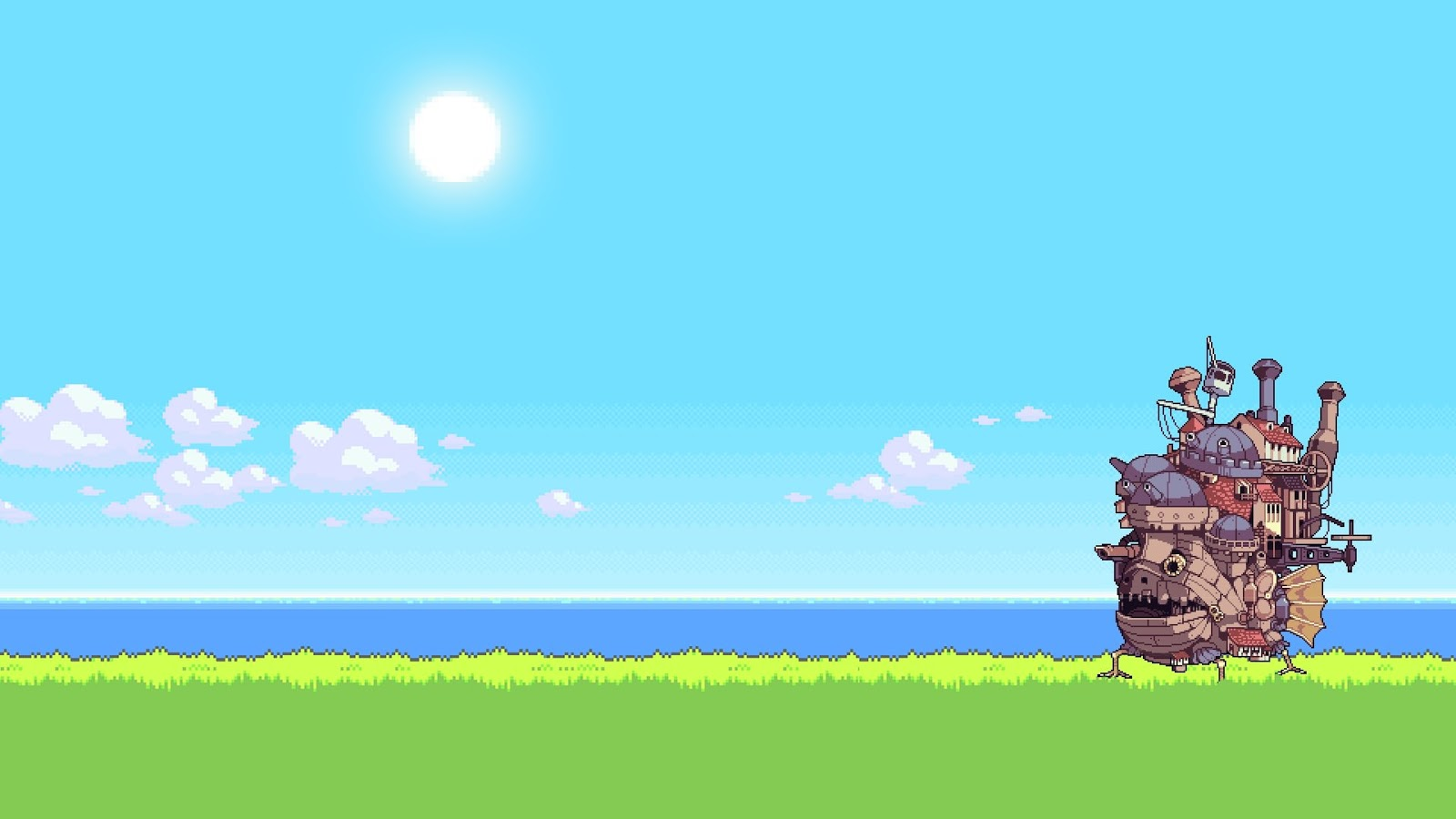 8bit wallpaper of howls moving castle