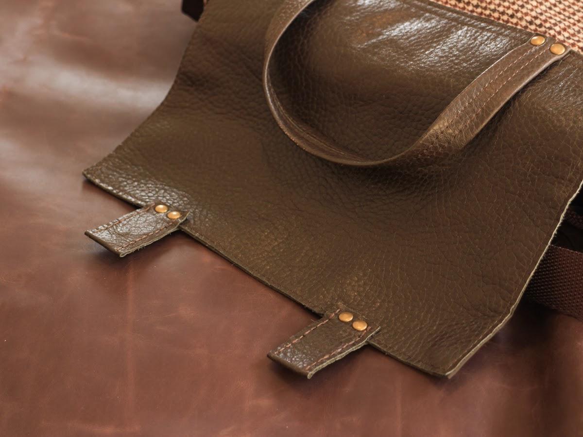 Портфель с клапаном из натуральной фактурной коричневой кожи