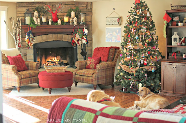 Christmas Family Room with Stone Fireplace and birch logs-www.goldenboysandme.com