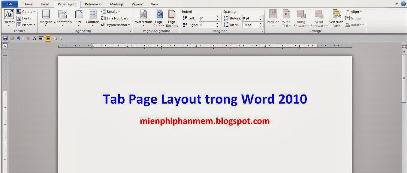 Tìm hiểu Tab Page Layout trong word 2010