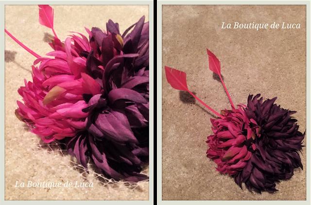 Tocado de plumas en tonos rosas y morados. La Boutique de Luca