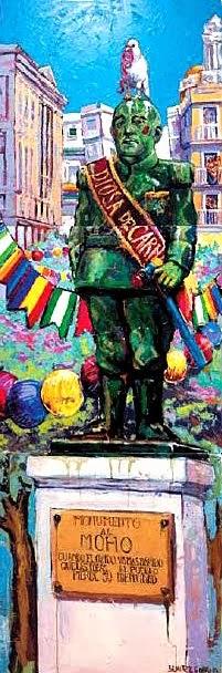 "BENÍTEZ GABRIEL. ""Monumento al moho"". Acrílico sobre lienzo, 240 x 80 cms."