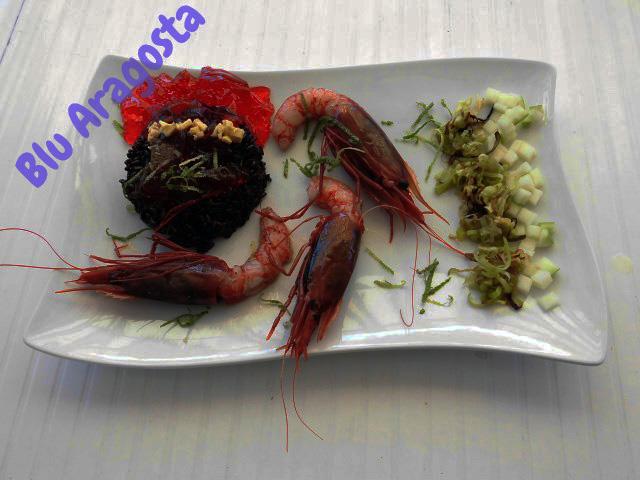 riso venere con cruditè di gamberi rossi di sicilia e gelatina di prosecco e anguria