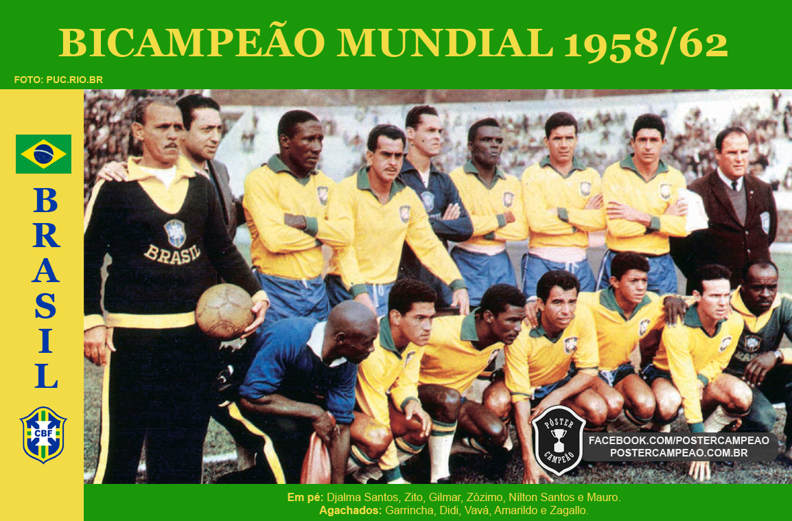 p ster campe o campe es hist ricos p ster brasil bicampe o mundial 1962. Black Bedroom Furniture Sets. Home Design Ideas