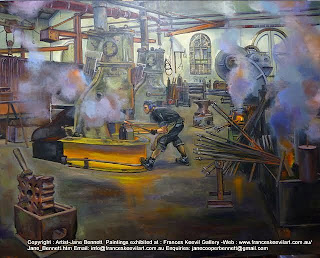 Industrial heritage -Blacksmith Eveleigh Railway Workshops oil painting by artist Jane Bennett