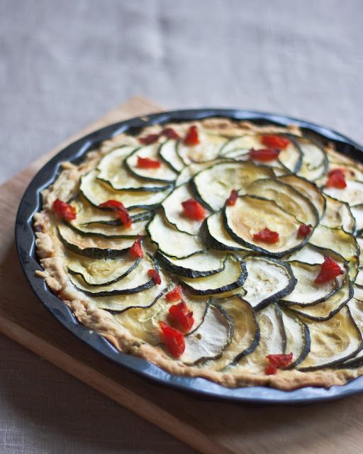 Courgette, chilli and goat cheese tart