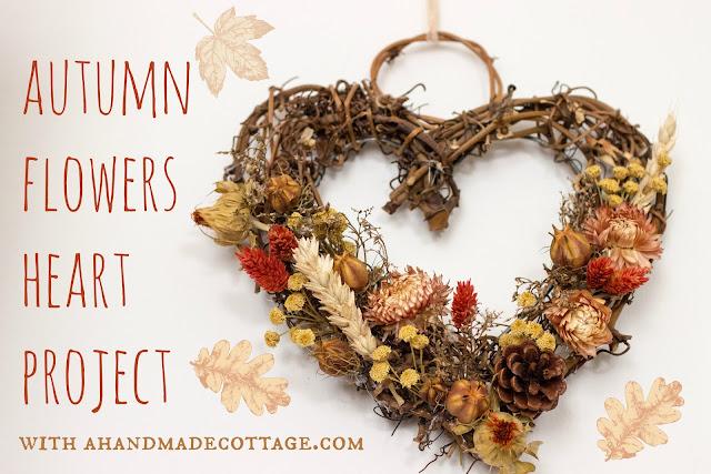Autumn flowers heart wreath