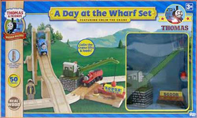 Island of Sodor James and Thomas the train Wooden Railway a Day at the Wharf set Colin the crane toy