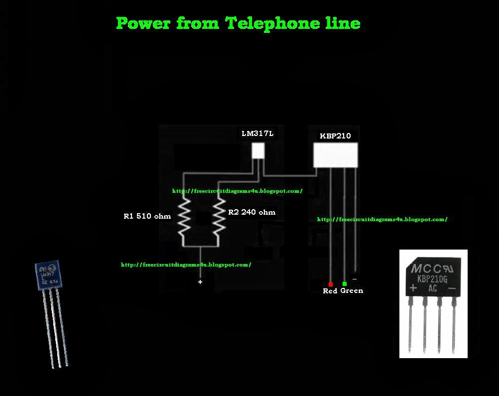 FREE CIRCUIT DIAGRAMS 4U: Free power from the telephone line