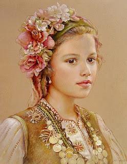Rostros Femeninos Flores Cuadros