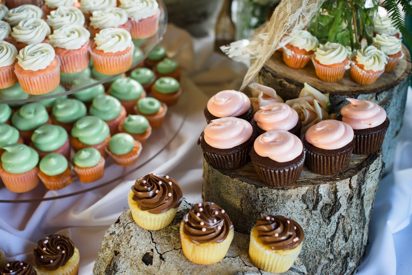 We cut logs to create this cupcake display