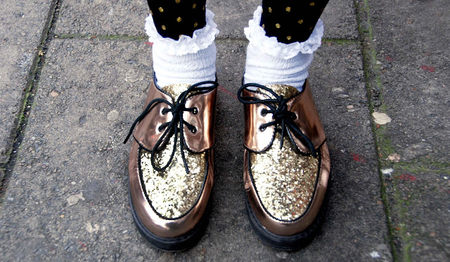 frilled socks, creepers, gold, glitter