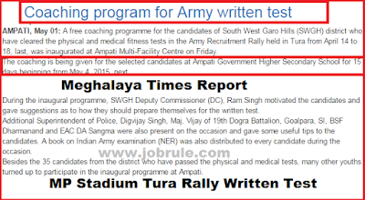 Tura MP Stadium Rally April 2015 Written Examination 31st May Free Coaching Program Information News (Meghalaya)