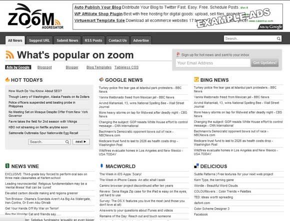 Zoom feed aggregator blogger template free template for News aggregator template