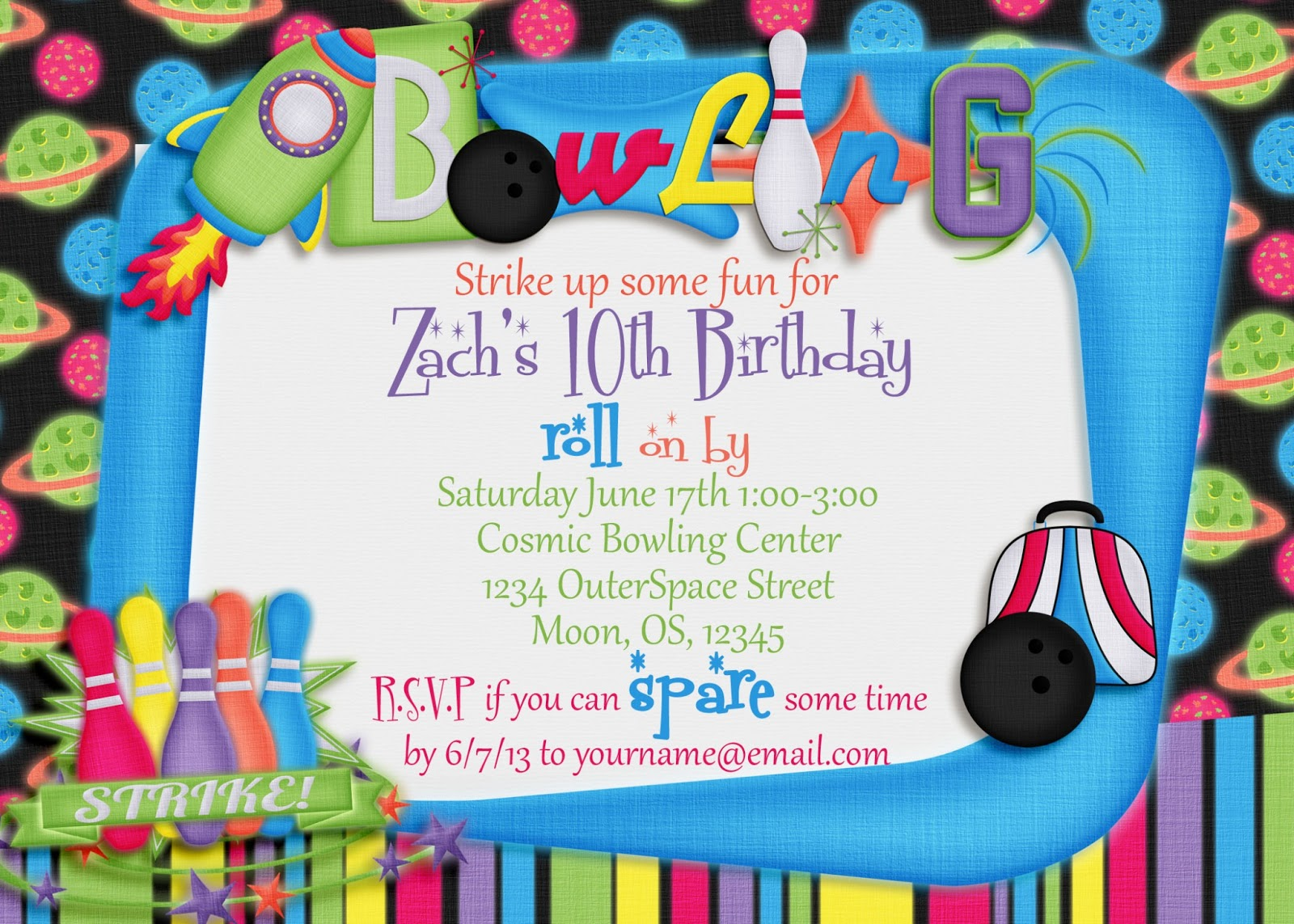 bowling birthday party invitation template