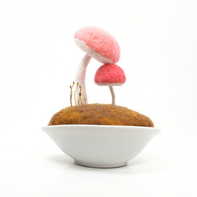 handcrafted wool mushrooms in pink - mother and daughter