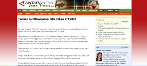 http://www.antarajatim.com/lihat/berita/139744/tumiran-dari-banyuwangi-film-terbaik-dff-2014
