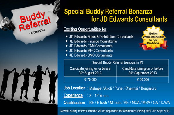 l t infotech special buddy referral for jd edwards