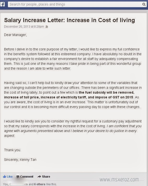Msxeroz:::Stories Of My Life:::: Salary Increase Letter: Increase