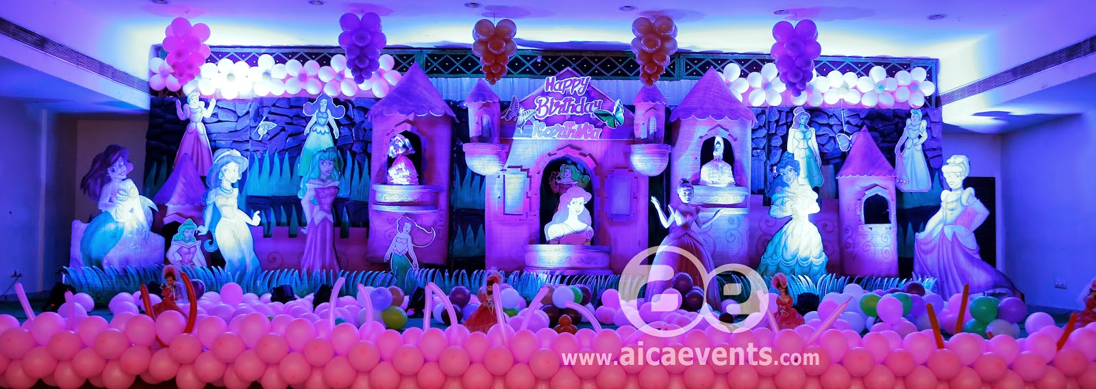 Aicaevents princess theme birthday decorations for 1st birthday stage decoration