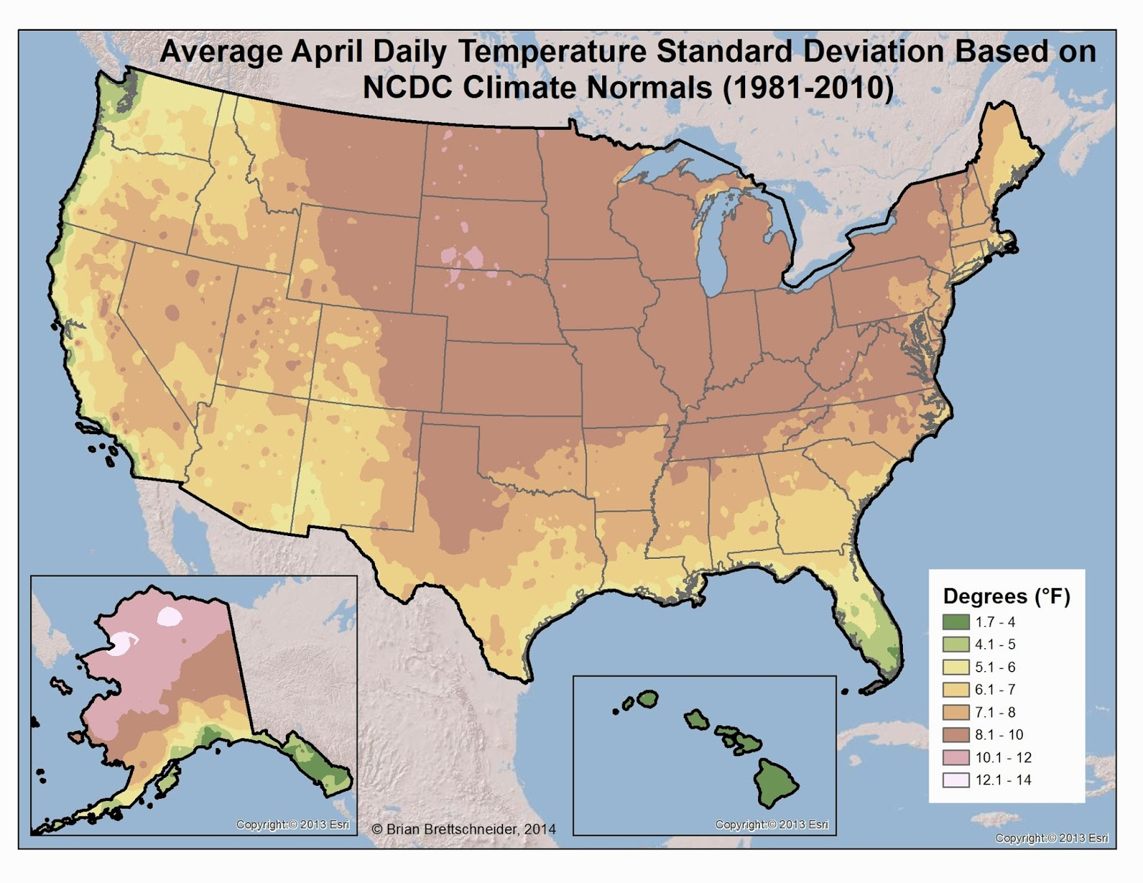 Brian Bs Climate Blog March - Map us average high low temperature map