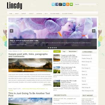 Linedy blog template. download 3 column blogger template style. magazine template blogspot