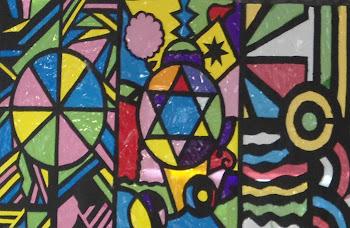 muestra de vidrieras en cartulina