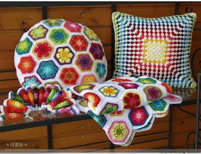 Interior decorating with crochet items.